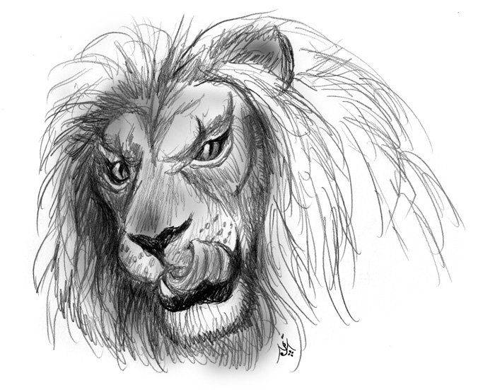 11_07_Lion_at_the_foot_of_the_altar_sketch001_BW_enh2_700