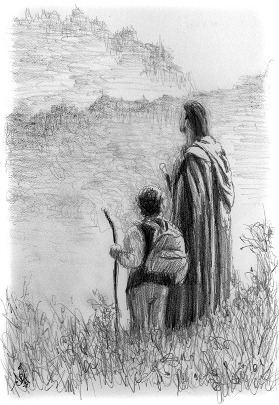 11_11_Frodo_and_Strider_sketch001_BW_enh_800